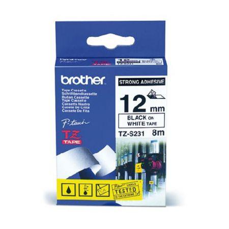 Fita para rotulador 12mm laminada industrial - TZES231 - branco escrita em preto - Brother