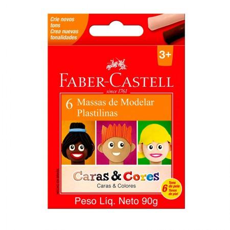 Massa para modelar caras e cores 90g 6cores Faber-Castell