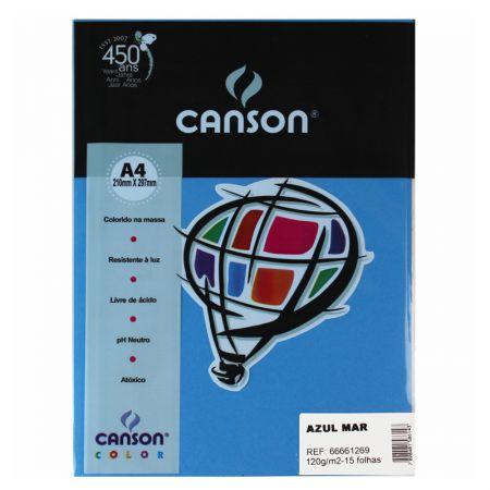 Papel Color Vivaldi A4 120g azul mar - com 15 folhas - Canson