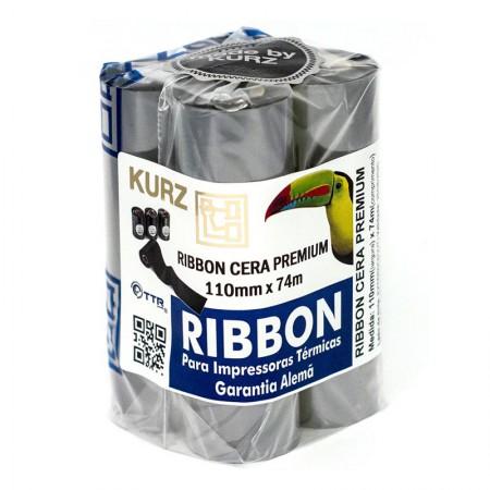 Ribbon cera Premium para impressora térmica 110mmx74m - Pct com 4 rolos - Kurz