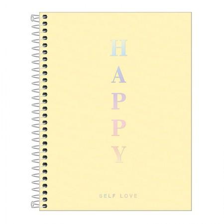 Caderno capa plástica colegial 1x1 - 80 folhas - Happy - Amarelo pastel - Tilibra