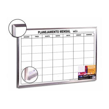 Quadro branco planejamento Mensal - 60 x 90 - Moldura de aluminio - Cortiarte