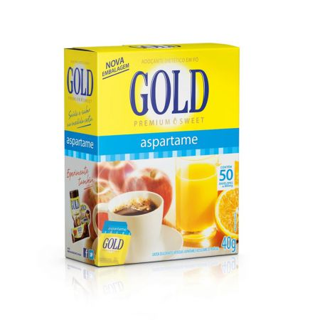 Adoçante em pó aspartame 800MG CX 50unid Gold