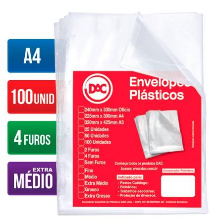 Envelope plástico A4 - 4 furos 0.12 - 5178A4 - pacote com 100 unidades - Dac