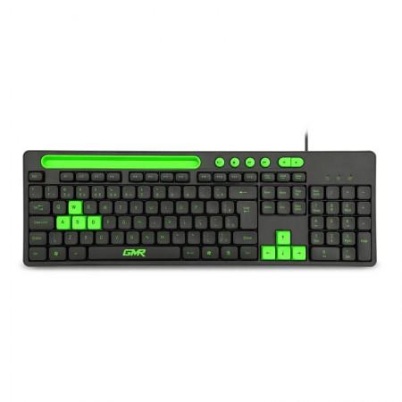 Teclado USB Gamer GK120 com suporte de smartphone preto e verde - TC265 - Multilaser