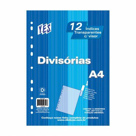 Divisória cristal transparente A4 - com 12 projeções - 12INTBA - Yes
