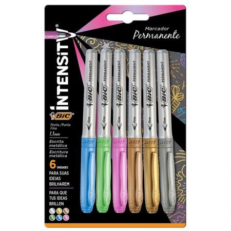 Pincel marcador permanente Marking Metálico - com 6 cores - 971035 - Bic