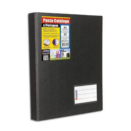 Pasta catálogo A4 1169 - preto - com 25 plásticos - Chies