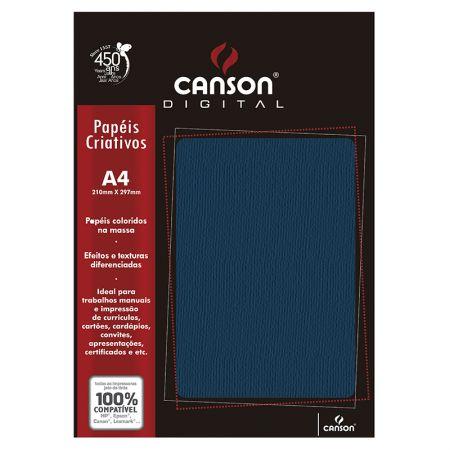 Papel textura micro cotele A4 180g azul marinho - com 15 folhas - Canson