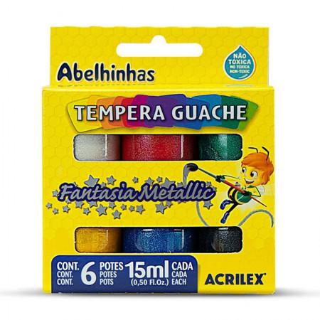 Tinta guache metálica 6 cores 15ml - 02002 - Acrilex
