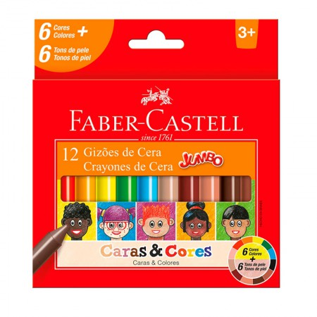 Gizão de cera caras e cores - 141112CC - com 12 cores - Faber-Castell