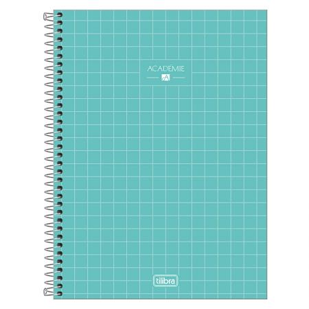 Caderno espiral capa dura universitário 1x1 - 80 folhas - Academie - Azul pastel - Tilibra