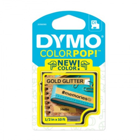 Fita para rotulador Color Pop dourado glitter com escrita preto 12mm - Dymo
