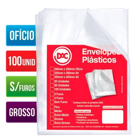 Envelope plástico ofício 0.15 - sem furo - 5075 - pacote com 100 unidades - Dac