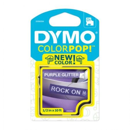 Fita para rotulador Color Pop roxo glitter com escrita branca 12mm - Dymo