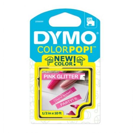 Fita para rotulador Color Pop rosa glitter com escrita branca 12mm - Dymo