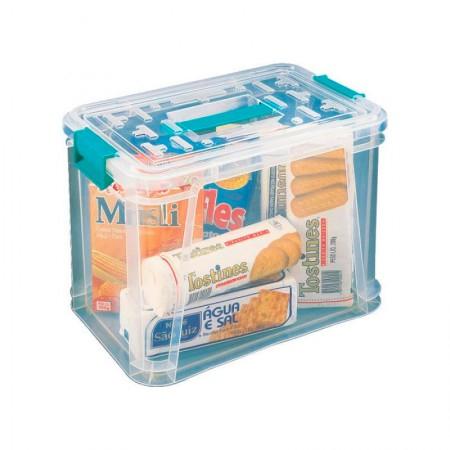 Caixa organizadora box alta com trava - cristal - OR-02 - 16,5 litros - São Bernardo
