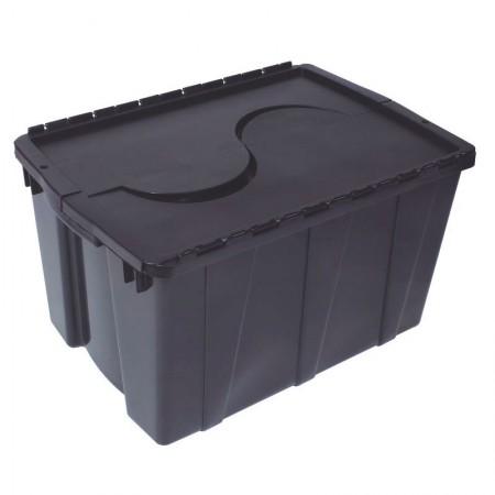 Caixa organizadora box alta com trava - preto - OR-08 - 56 litros - São Bernardo