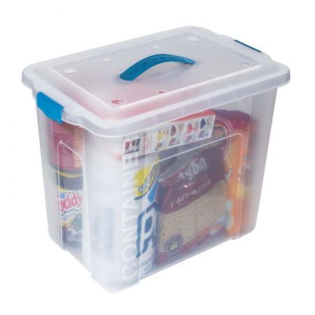 Caixa organizadora box alta com trava - cristal - OR-11 - 23,5 litros - São Bernardo