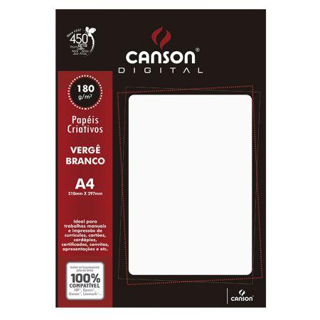 Papel vergê A4 180g branco - com 20 folhas - Canson