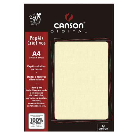 Papel textura telado A4 180g marfim - com 15 folhas - Canson