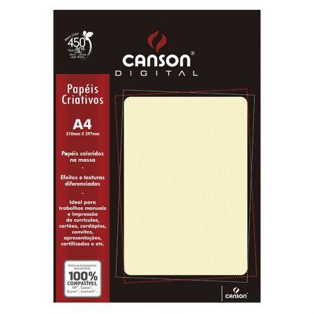 Papel textura cotele A4 180g marfim - com 15 folhas - Canson