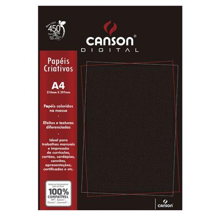 Papel textura telado A4 180g preto - com 15 folhas - Canson