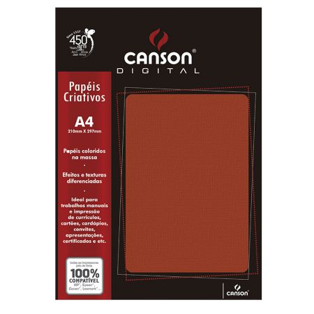 Papel textura telado A4 180g vermelho - com 15 folhas - Canson