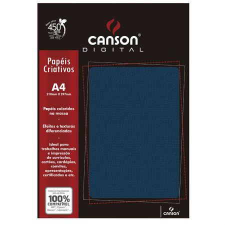 Papel textura telado A4 180g azul - com 15 folhas - Canson