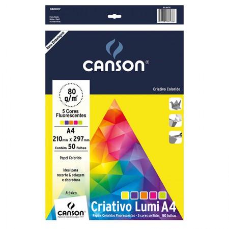 Bloco colorido Criativo Lumi A4 80g com 5 cores - com 50 folhas - Canson