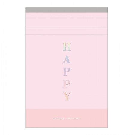 Bloco grampeado capa flexível Happy azul pastel - 80 folhas - Tilibra