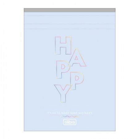 Bloco grampeado capa flexível Happy Rosa pastel - 80 folhas - Tilibra
