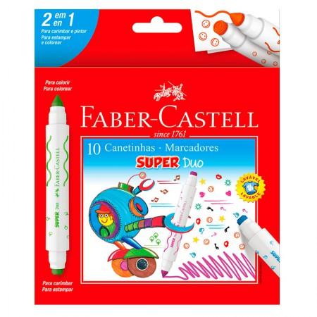 Caneta hidrográfica Super Duo 2 Pontas 10 cores DUO150610 - Faber-Castell