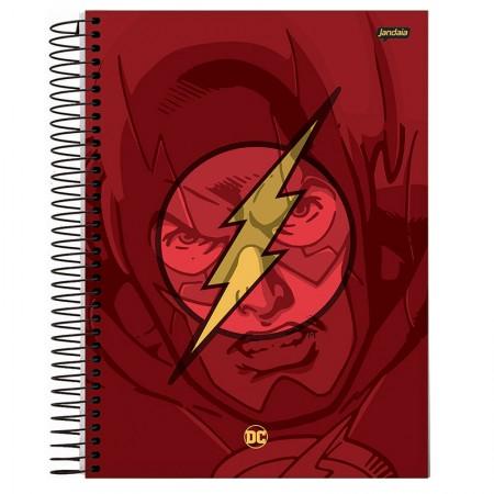 Caderno espiral capa dura universitário 10x1 - 200 folhas - Dc Comics - Flash - Jandaia
