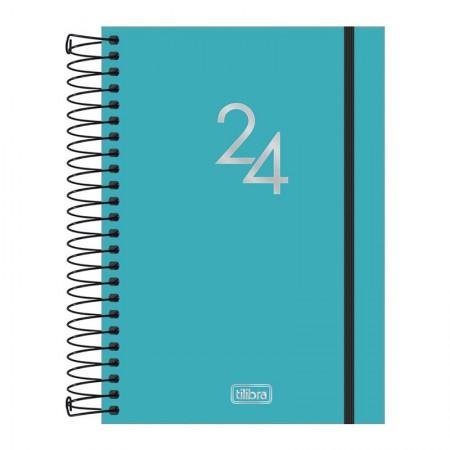 Agenda espiral diária capa plástica Neon 2021 - Azul - Tilibra