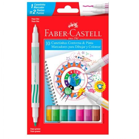 Caneta hidrográfica ponta dupla - 15.0110DUO - com 10 cores - Faber-Castell