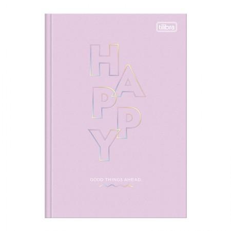 Caderno brochurão capa dura universitário 1x1 - 80 folhas - Happy - Rosa pastel - Tilibra