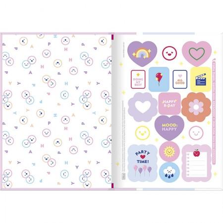 Caderno brochurão capa dura universitário 1x1 - 80 folhas - Happy - Verde pastel - Tilibra