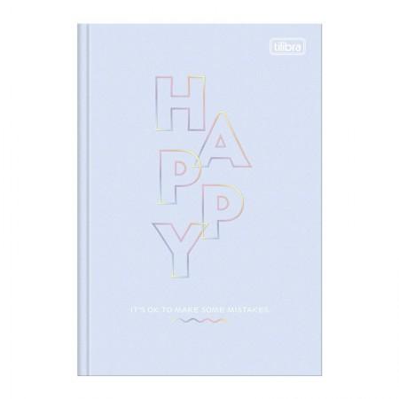Caderno brochurão capa dura universitário 1x1 - 80 folhas - Happy - Azul pastel - Tilibra