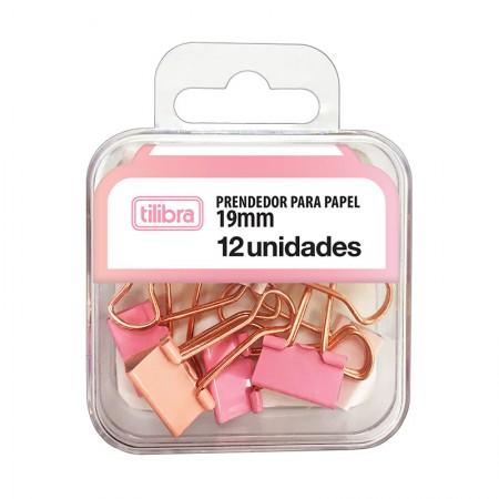 Prendedor de papel 19mm rosa pastel - com 12 unidades - 315788 - Tilibra