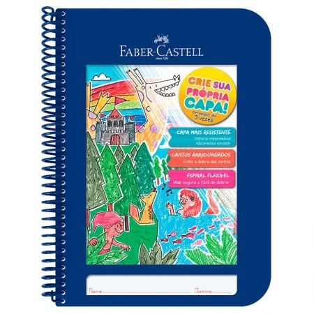 Caderno Criativo capa plástica 1x1-  CDN/AZ - 96 folhas - azul - Faber-Castell