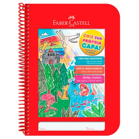 Caderno Criativo capa plástica 1x1 - CDN/VM - 96 folhas - vermelho - Faber-Castell