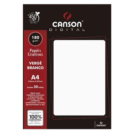 Papel vergê A4 180g branco - com 50 folhas - Canson
