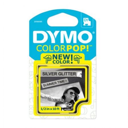 Fita para rotulador Color Pop prata glitter com escrita preta 12mm - Dymo