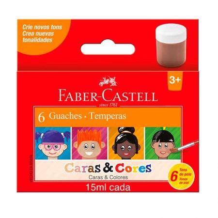 Tinta guache caras e cores 6 cores 15ml Faber-castell