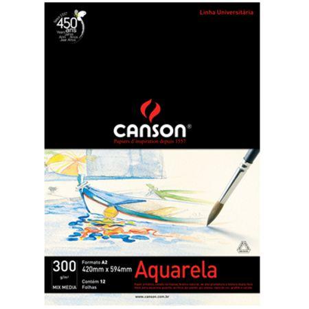 Bloco aquarela A2 300g - com 12 folhas - Canson