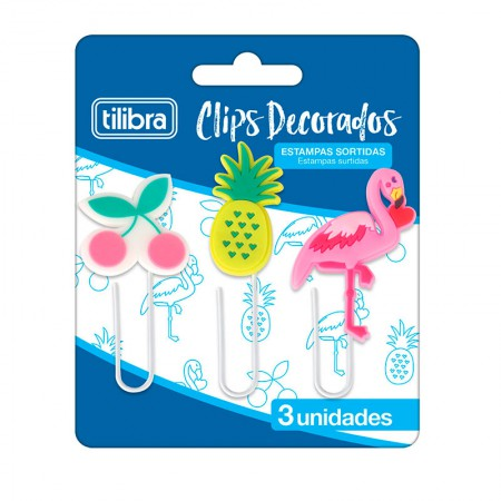 Clips decorados estampas sortidas 50mm - com 3 unidades - 302791 - Tilibra