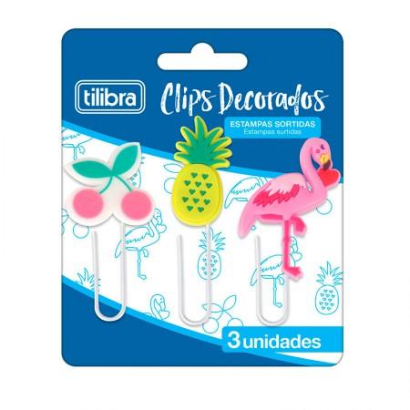 Clips decorados - com 3 unidades - 302791 - Tilibra