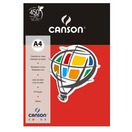 Papel Color Vivaldi A4 120g vermelho - com 15 folhas - Canson