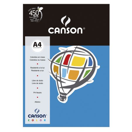Papel Color Vivaldi A4 180g azul royal 10fls Canson